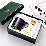 Tilany Ceramic Coffee Mug With Golden Spoon & Tea Infuser - Black Tea Mugs With Constellation Design - Large Porcelain Cups - Coffee Pottery Cup With Zodiac Sign - 13.5oz Cup Gift Set (Leo)