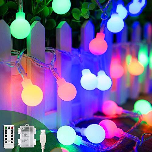 Pilas USB 2 en 1 Guirnaldas Luces Control Remoto 13m 100 Led Bolas 8 modos Colores Luces de Adornos Navidad Impermeable Para Interior Exterior Fiesta Jardín Habitacion Decoración