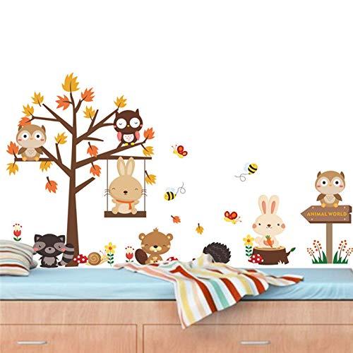 Animales Del Bosque Madera Conejo Oso Ala Árbol Pegatinas De Pared Para Niños Dormitorio Decoración Infantil Decoración Para El Hogar Calcomanía Mural Cartel