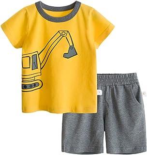 BINIDUCKLING Camiseta con estampado de pirata para niño - Conjunto de pantalones cortos