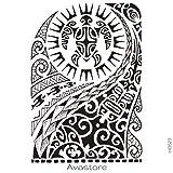 Tatuaje Temporal Maori sol tortuga tatuaje efímero Maori sol tortuga–avastore