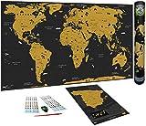 WIDETA Mapa del mundo a rascar en español/Póster XXL (82 x 43 cm), bonus Mapa de España, adhesivos, pieza y bolígrafo de rascado