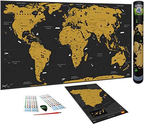 WIDETA Mapa del mundo a rascar en español/Póster gran...