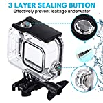 Waterproof Housing Case for GoPro Hero 8, 60M Diving Protective Housing Shell for Gopro Hero 8 Black Action Camera… 11 196FT/60M Gopro 8 Diving Case: Designed with waterproof seal and tightened buckle, REDTRON waterproof housing shell helps to prevent to water leakage effectively. You can use your Gopro Hero 8 to record underwater activities up to 196FT/60M without worrying about the leakage. HD Scratch-proof & Clear Shooting Underwater: The lens of Gopro 8 underwater photography housing is made of ultra-thick transparent tempered glass with with high light transmission which protect your Gopro 8 lens from being scratched and provides you a good shooting results. Upgraded Quick Release Buckle Mount: REDTRON protective housing case for Gopro 8 comes with a quick release buckle mount with 2 type screws. You can attach your Grpro 8 black to accessories such as tripod, bicycle mount, suction cup mount. (Note: accessories are NOT included)
