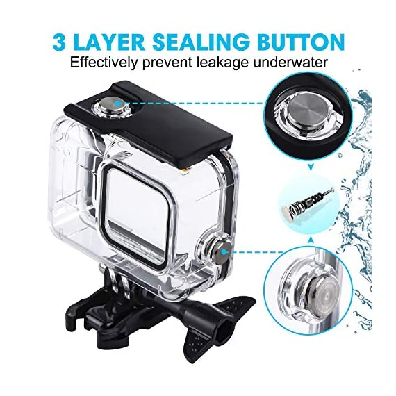 Waterproof Housing Case for GoPro Hero 8, 60M Diving Protective Housing Shell for Gopro Hero 8 Black Action Camera… 4 196FT/60M Gopro 8 Diving Case: Designed with waterproof seal and tightened buckle, REDTRON waterproof housing shell helps to prevent to water leakage effectively. You can use your Gopro Hero 8 to record underwater activities up to 196FT/60M without worrying about the leakage. HD Scratch-proof & Clear Shooting Underwater: The lens of Gopro 8 underwater photography housing is made of ultra-thick transparent tempered glass with with high light transmission which protect your Gopro 8 lens from being scratched and provides you a good shooting results. Upgraded Quick Release Buckle Mount: REDTRON protective housing case for Gopro 8 comes with a quick release buckle mount with 2 type screws. You can attach your Grpro 8 black to accessories such as tripod, bicycle mount, suction cup mount. (Note: accessories are NOT included)