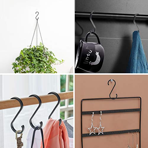 WINCANG 12 Pack S Hooks Black Aluminum S Shaped Hooks Heavy Duty Lightweight S Hanging Hangers Hooks for Pots, Pans,Plants, Cups, Bags,Clothes,Towels