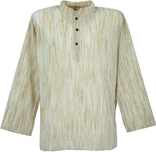 Guru-Shop Indisches Hemd, Kurze Kadhi Kurta, Indisches Freizeithemd, Herren, Beige, Baumwolle, Size:L, Hemden Alternative Bekleidung