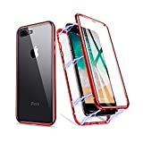iPhone 11 Case, ZHIKE Magnetic Metal Frame Front and Back Tempered Glass Full Screen Coverage One-Piece Design Flip Cover [Support Wireless Charging] [Clear Red]