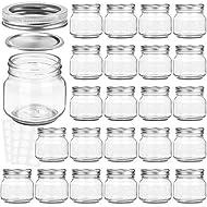 KAMOTA Mason Jars 8 oz With Regular Silver Lids and Bands, Ideal for Jam, Honey, Wedding Favors, Shower Favors, Baby Foods, DIY Magnetic Spice Jars, 24 PACK, 30 Whiteboard Labels Included