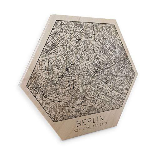 Hexagon - Holz Birke-Furnier - Stadtplan Berlin Sechseck Wanddeko naturbelassenes Holz Straßennetz Karte Hauptstadt Straßen Metropole mit Wandhalterung Wall-Art -