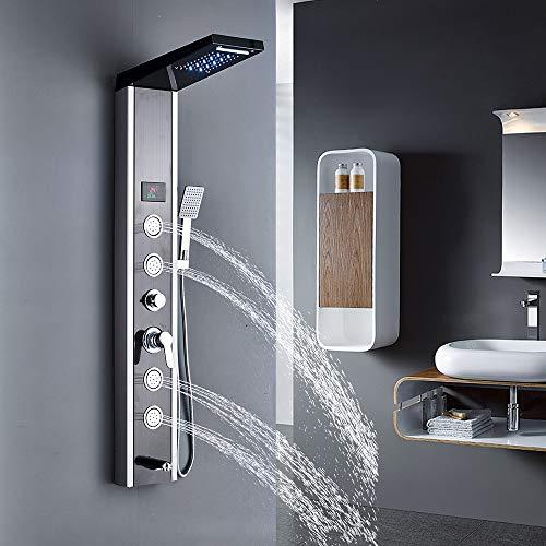 Rozin Edelstahl LED Duschpaneel mit 5 Funktionen Duschsäulen Regendusche Duschset Wassertemperaturanzeige Massagedüsenduschpanel Gebürstetes Nickel und Schwaz Optik