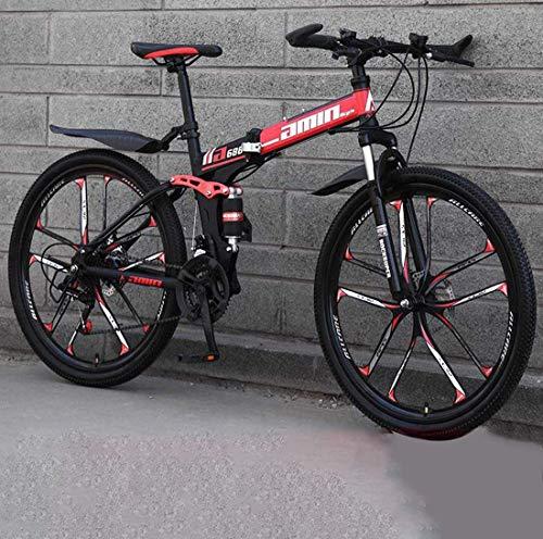 WSJ 24' Bicicleta de montaña para jóvenes de hombres y mujeres, cuadro de acero reforzado con alto contenido en carbono, freno de doble disco con cola suave, color D2, tamaño 24 speed