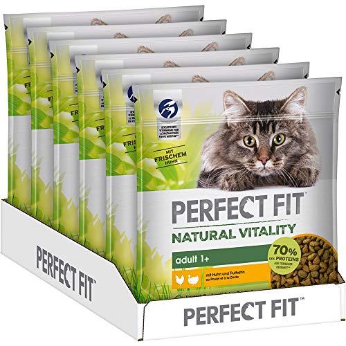 Perfect Fit Natural Vitality – Trockenfutter für erwachsene Katzen, Huhn & Truthahn, 6 Beutel (6 x 650g)