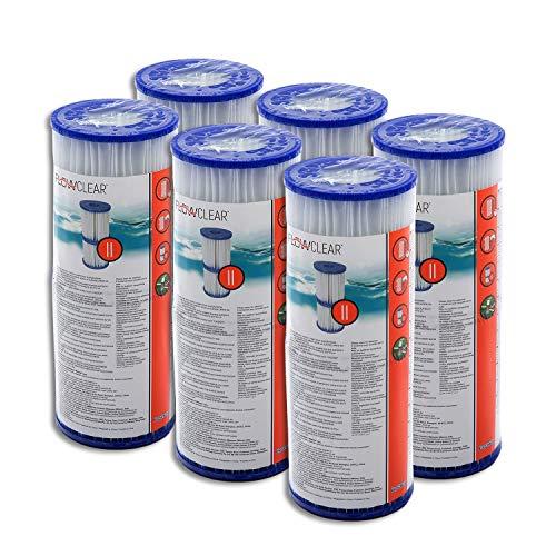 Bestway - Cartuccia per filtro per pompa della piscina, Intex Bestway, misura: 2, 6 pezzi