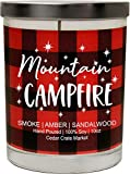 Mountain Campfire, Smoke, Amber, Sandalwood, Buffalo Plaid, Luxury Scented Soy Candle, 10 Oz. Glass Jar Scented Candle, Decorative Candles