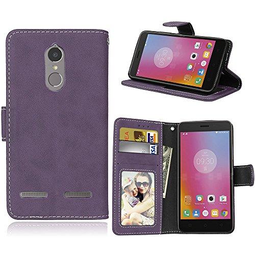 BgkjZX Lenovo K6 Power Case - for Lenovo K6 Power Matte leather case cover,Anti-fall flip card slot phone case - purple