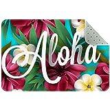 Yoliveya Alfombrillas antideslizantes de bienvenida Aloha Hawaii Hibiscus orquídea flores de palma, superabsorbentes felpudos para oficina, cocina, baño, decoración del hogar interior de 76 x 50 cm