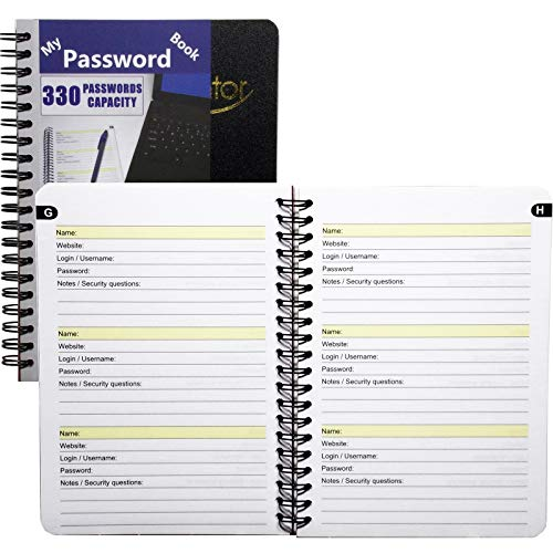 """My Password Book - 7"""" X 5"""" Quick Search Design Password and Private Code Journal (Black, Regular)"""