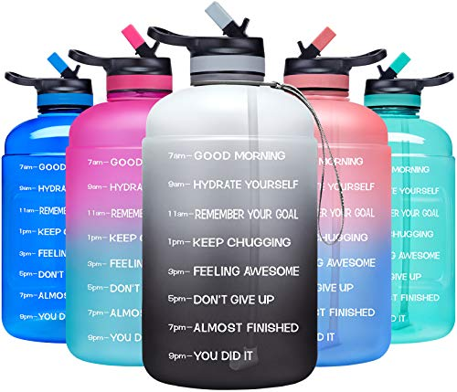 ADOLPH Large Half Gallon Motivational Water Bottle with 2 Lids (Chug and Straw), Leakproof BPA Free Tritan Sports Water Jug with Time Marker to Ensure You Drink Enough Water -White/Gray Gradient