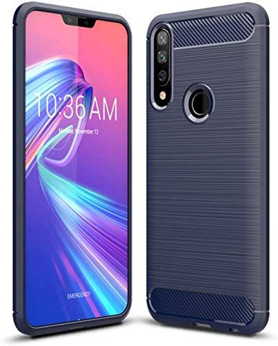 Capa Capinha Anti Impacto Para Asus Zenfone Max Shot e Max Plus M2 Zb634kl Case Com Desenho Fibra De Carbono Shock Queda - Danet (Azul escuro)