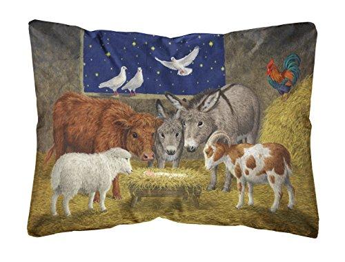 Caroline's Treasures Animals At Crib Nativity Christmas Scene Fabric Decorative Pillow, Large, Multicolor