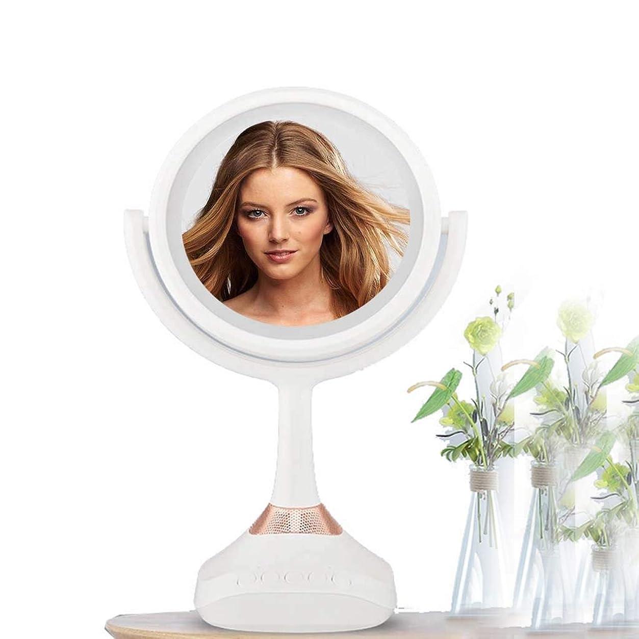 スケルトン建設木曜日照明付き化粧鏡 自然光LEDでメイクアップミラー明るさ調節可能なUSB充電式180度回転タッチボタンポータブルトラベル化粧品化粧鏡シェービングミラーライト付き化粧鏡 化粧鏡 (Color : White, Size : 6 inches)