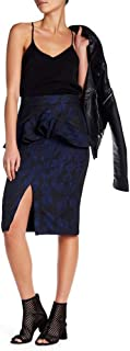 Kendall & Kylie Peplum Jacquard Pencil Skirt Black Multi - Medium