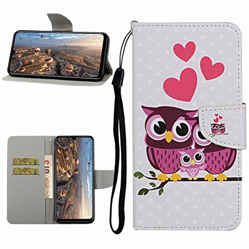 Miagon Hülle für Samsung Galaxy A30S,Handyhülle PU Leder Brieftasche Schutz Flip Case Wallet Cover Klapphüllen Tasche Etui mit Kartenfächern Stand,Eule