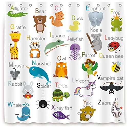 ABC Learning Alphabet Duschvorhang Kinder Badezimmer Dekor Stoff Panel Lustige Lehrwörter