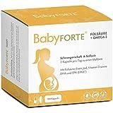 BabyFORTE® Folsäure + Omega-3 – 17 Nährstoffe + DHA & EPA - 180 Kapseln – Schwangerschaftsvitamine – Hergestellt in Deutschland