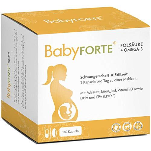 BabyFORTE Folsäure + Omega-3 – 17 Nährstoffe + DHA & EPA - 180 Kapseln – Schwangerschaftsvitamine – Hergestellt in Deutschland