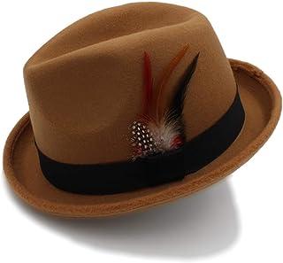 JHKSO Womens Mens Fedora Hats with Feather Short Brim Panama Fedora Cap