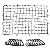 MICTUNING Cargo Net 5'x7' Heavy Duty Truck Bed Bungee Nets Stretches to 10'x14' with 16pcs D Shape Aluminum Carabiners Universal for Pickup Truck SUV Trailer Boat RV