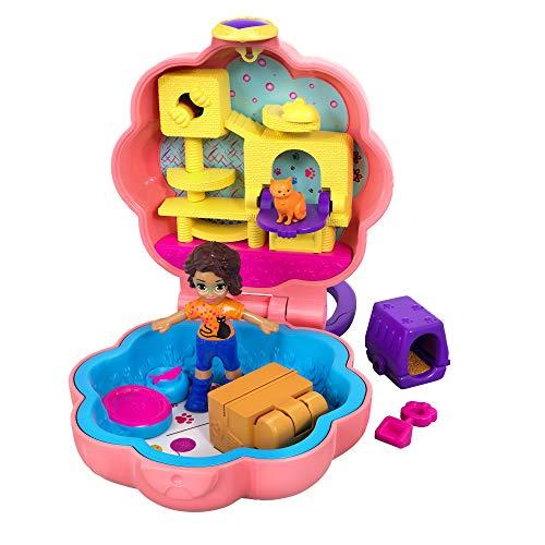 Polly Pocket GFM52 - Mini-Schatulle Shani und Katze, Puppen Spielzeug ab 4 Jahren