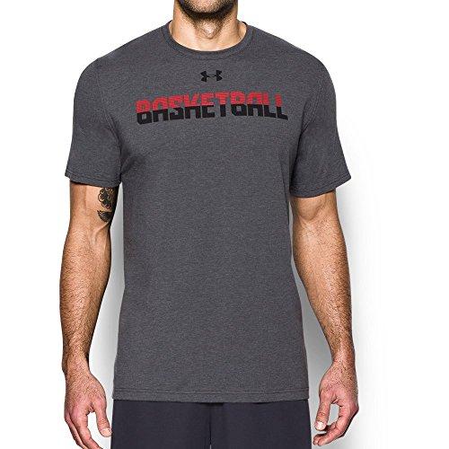Under Armour Camiseta de baloncesto para hombre - 1300372, L, Carbon Heather (090)/Rojo