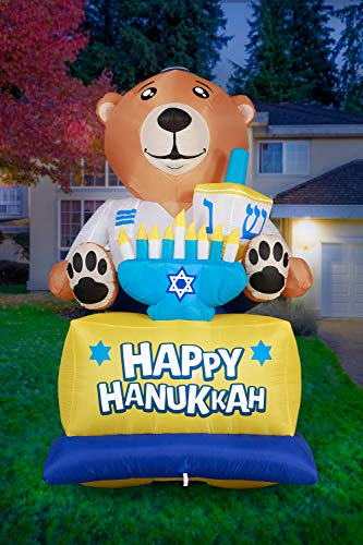 Holidayana Hanukkah Bear Yard Inflatable - 8 ft Tall Hanukkah Bear Inflatable Yard Decoration with LED Bulbs, Stakes, and Fan