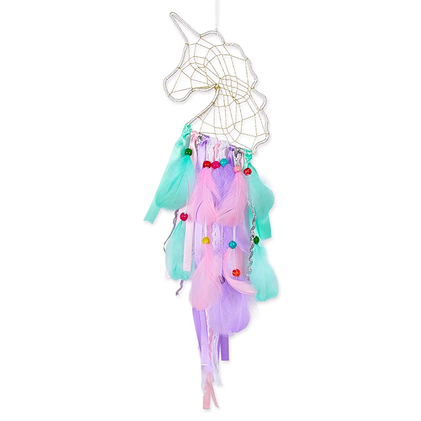 Beinou Unicorn Dream Catcher Colorful Feather Dream Catcher Handmade Mini Dream Catchers DIY Dream Catcher for Girls Kids Nursery Bedroom Wall Hanging Decoration