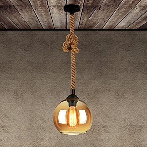 Jqchw Cubierta de luz ámbar cáñamo Cuerda Colgante Ligera E27 Cristal Pendiente de la luz de la lámpara Retro Claro Cortina de Cristal Industrial Loft Droplight casa Deco de suspensión de Techo Luz