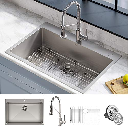 Kraus KCA-1102 Stark Dual Mount Drop Sink and Pull-Down Commercial Kitchen Faucet Combo in Stainless Steel Finish, 33'- Single Bowl