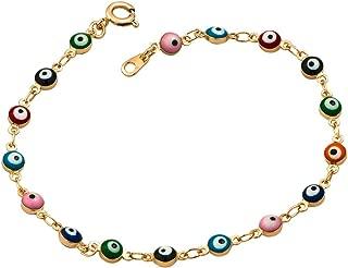 Colorful Mini Evil Eye Style 7.5 Inch Clasp Bracelet
