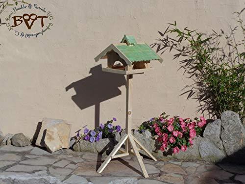 Vogelhaus,groß,mit Nistkasten,BEL-X-VONI5-moos002 Großes wetterfestes PREMIUM Vogelhaus VOGELFUTTERHAUS + Nistkasten 100% KOMBI MIT NISTHILFE für Vögel WETTERFEST, QUALITÄTS-SCHREINERARBEIT-aus 100% Vollholz, Holz Futterhaus für Vögel, MIT FUTTERSCHACHT Futtervorrat, Vogelfutter-Station Farbe grün moosgrün lindgrün natur/grün, MIT TIEFEM WETTERSCHUTZ-DACH für trockenes Futter - 9