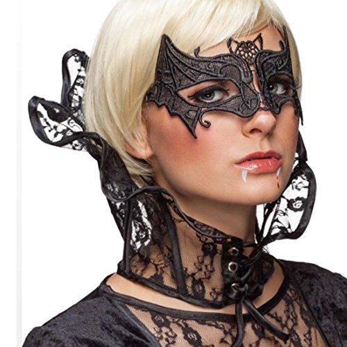 NET TOYS Colletto Alto Stile Gotico Collo con Merletto da Vampira Nero - Collare da Regina Cattiva Collo Alto Costume Strega Accessori Pipistrello Ornamenti Fata oscura per Halloween