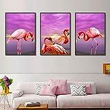ganlanshu Pintura sin Marco decoración nórdica para el hogar Arte pájaro Rosa Cartel y Lienzo Vista al mar Sala de Estar decoración ZGQ3420 50X75cmx3