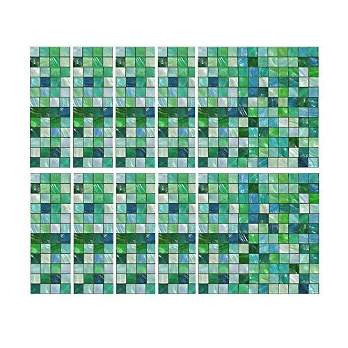10 pcs Auto-Adhésif Étanche Marbre Mosaïque Mur Art Cuisine Tuile Autocollant 20x20 cm PVC Tuile Mur Autocollant Mural Salle De Bains Cuisine Dosseret Autocollant, Vert