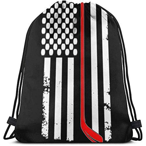BOUIA Unisex Drawstring Bag amerikanische Flagge Hockey Rucksack Sport Gym Schultasche