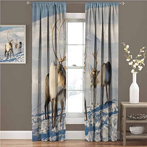 Toopeek Winter Wear-Resistant Color Curtain Reindeers in Natural Environment Tromso Northern Norway Caribou Antler Wildlife Waterproof Fabric W72 x L96 Inch