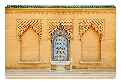 Ambesonne Architecture Pet Mat for Food and Water, Photo of Moroccan Style Fountain with Folkloric Mosaic Tiles, Rectangle Non-Slip Rubber Mat for Dogs and Cats, Pale Orange and Multicolor