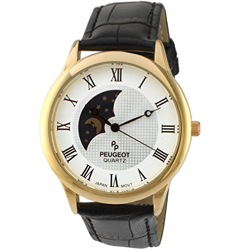 Peugeot Men's 14K Gold Plated Sun Moon Phase Vintage Dress Analog Watch with...