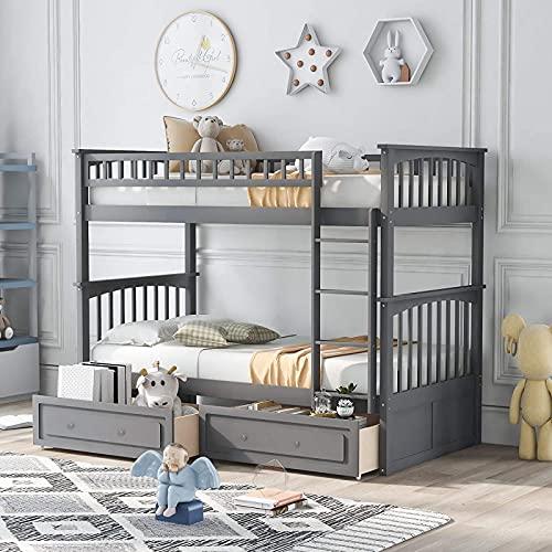 MWKL La más Nueva litera de Dos Camas sobre Dos con escaleras y Dos cajones de Almacenamiento para Dormitorio, Dormitorio, para niños, Adultos, Convertible en 2 Marcos de Cama de tamaño Individual
