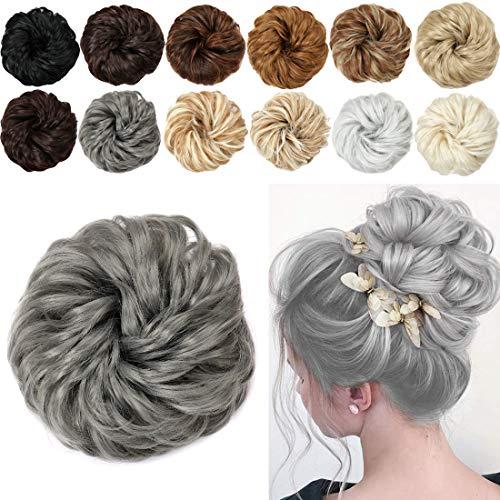 1Pcs Curly Messy Hair Bun Scrunchies Ponytail Hair Bun Hair Piece Synthetic Hair Bun Updo Hair Extensions for Women (deep gray(171#))